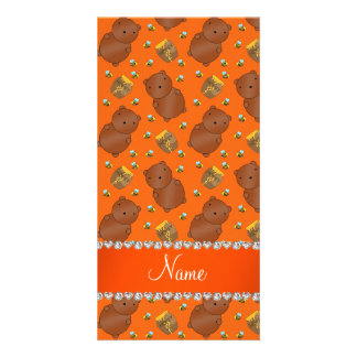 Name orange bears honeypots bees pattern photo card