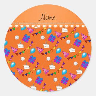 Name orange birthday bunting cake hat balloons classic round sticker