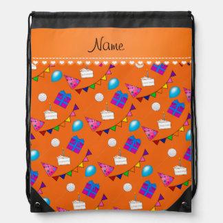 Name orange birthday bunting cake hat balloons drawstring backpack