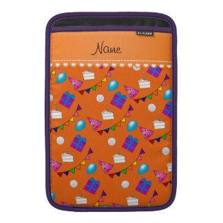Name orange birthday bunting cake hat balloons MacBook sleeve