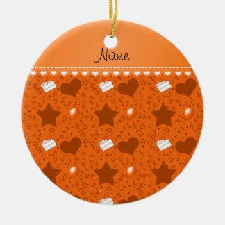 Name orange birthday cake balloons hearts stars ceramic ornament