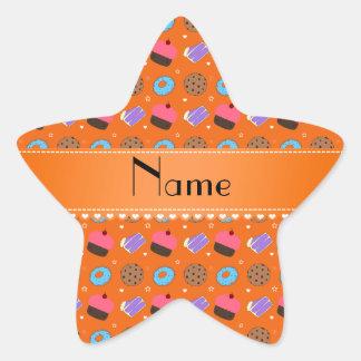 Name orange cupcake donuts cake cookies star sticker