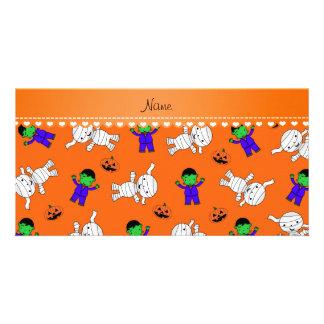 Name orange frankenstein mummy pumpkins photo card