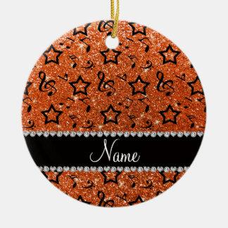 Name orange glitter music notes stars ceramic ornament