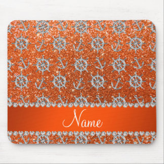 Name orange glitter silver anchors ships wheel mouse pad