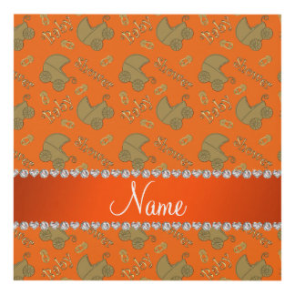 Name orange gold baby carriages pins baby shower panel wall art