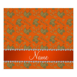 Name orange gold baby carriages pins baby shower poster