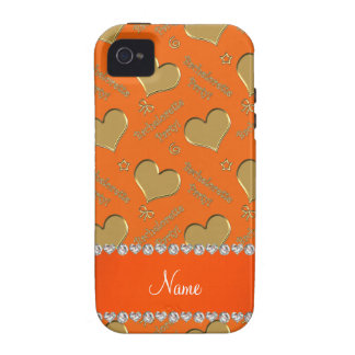 Name orange gold hearts bachelorette party iPhone 4/4S cover