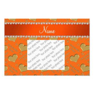 Name orange gold hearts bachelorette party photo print