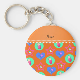 Name orange hearts dots stars baby rattle bottle basic round button keychain