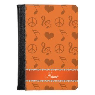 Name orange music notes hearts peace sign kindle case