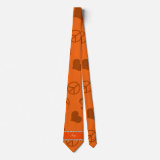 Name orange music notes hearts peace sign neck tie