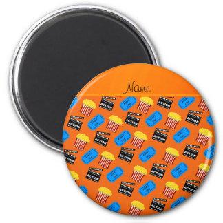 Name orange popcorn movie ticket action sign 2 inch round magnet