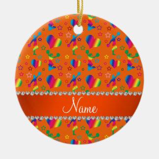 Name orange rainbow cheerleading hearts stars ceramic ornament