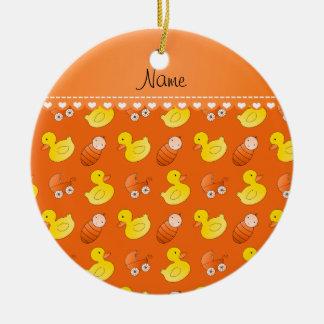Name orange rubberduck baby carriage ceramic ornament