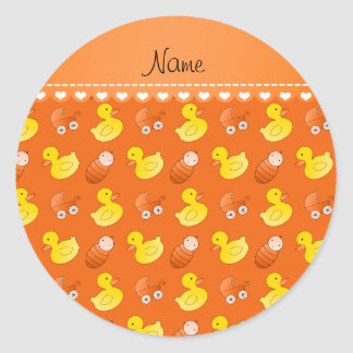 Name orange rubberduck baby carriage classic round sticker