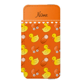 Name orange rubberduck baby carriage iPhone SE/5/5s wallet case