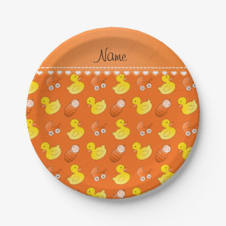 Name orange rubberduck baby carriage paper plate