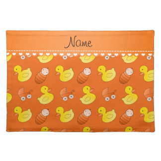 Name orange rubberduck baby carriage placemat