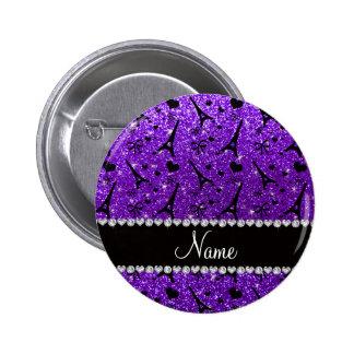 Name paris eiffek tower indigo purple glitter 2 inch round button