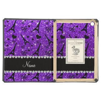 Name paris eiffek tower indigo purple glitter iPad air covers