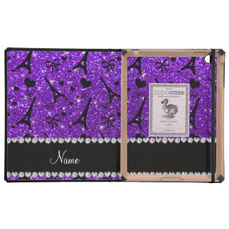 Name paris eiffek tower indigo purple glitter iPad folio cases