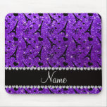 Name paris eiffek tower indigo purple glitter mouse pad