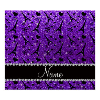 Name paris eiffek tower indigo purple glitter poster