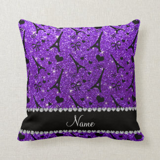 Name paris eiffek tower indigo purple glitter throw pillow