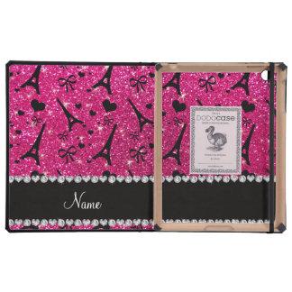 name paris eiffek tower neon hot pink glitter iPad cases