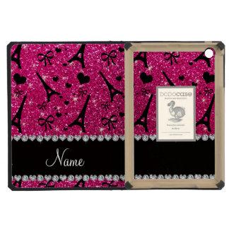 name paris eiffek tower neon hot pink glitter iPad mini retina case