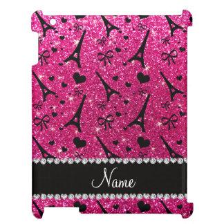 name paris eiffek tower neon hot pink glitter iPad case