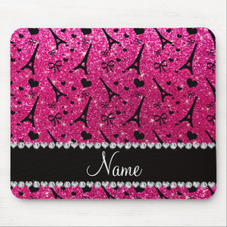 name paris eiffek tower neon hot pink glitter mouse pad