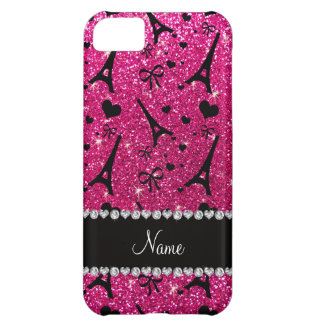 name paris eiffel tower neon hot pink glitter case for iPhone 5C