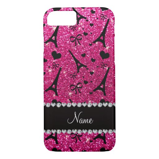 name paris eiffel tower neon hot pink glitter iPhone 8/7 case