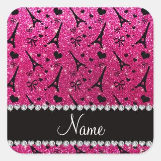 name paris eiffel tower neon hot pink glitter square sticker
