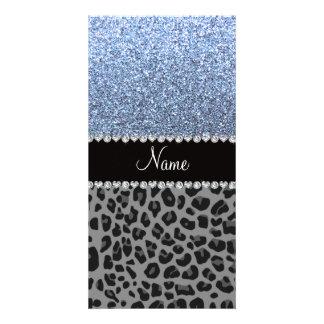 Name pastel blue glitter black leopard photo card