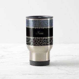 Name pastel blue glitter black leopard travel mug