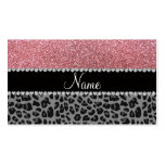 Name pastel pink glitter black leopard Double-Sided standard business cards (Pack of 100)