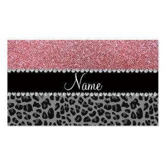 Name pastel pink glitter black leopard business cards