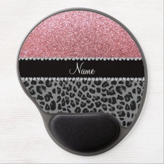 Name pastel pink glitter black leopard gel mouse mat
