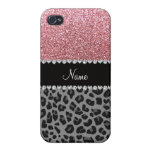 Name pastel pink glitter black leopard iPhone 4 cover