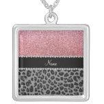 Name pastel pink glitter black leopard custom necklace