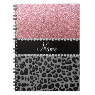Name pastel pink glitter black leopard spiral notebook
