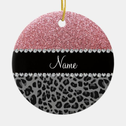 Name pastel pink glitter black leopard Double-Sided ceramic round christmas ornament