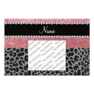 Name pastel pink glitter black leopard photographic print