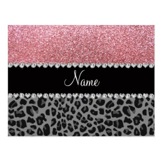 Name pastel pink glitter black leopard postcard