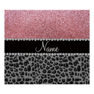 Name pastel pink glitter black leopard posters