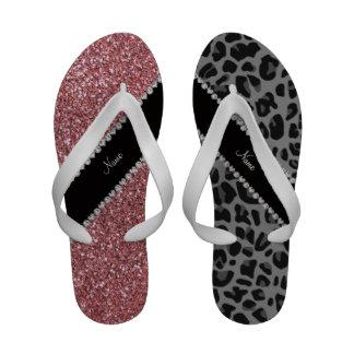 Name pastel pink glitter black leopard sandals