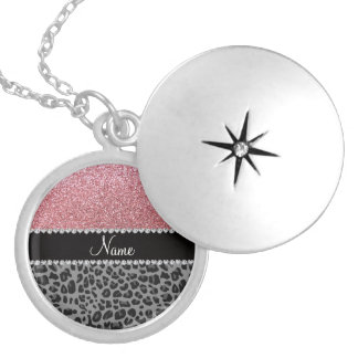 Name pastel pink glitter black leopard silver plated necklace